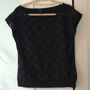 Mango black lacy top